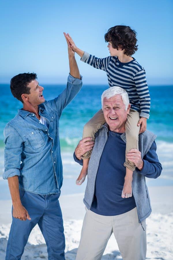 Manliga familjemedlemmar som spelar på stranden royaltyfria bilder