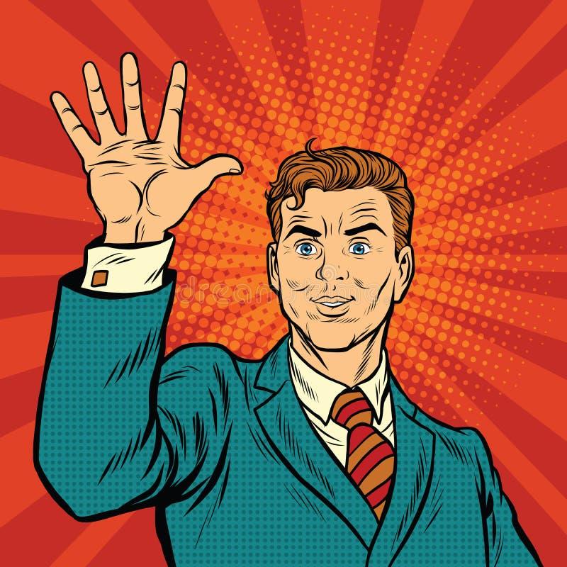 Manliga fingrar av en hand visar numret fem vektor illustrationer