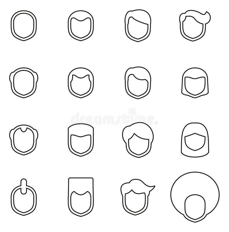Manliga frisyr- eller frisyrsymboler gör linjen vektorillustrationuppsättning tunnare stock illustrationer