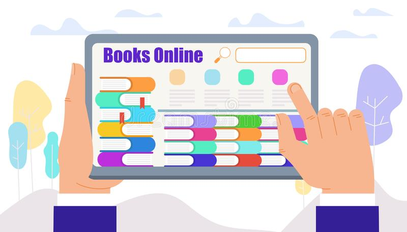 Manliga händer trycker på minnestavlan med böcker på skärmen stock illustrationer