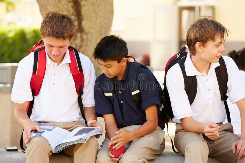 Manliga högstadiumstudenter som ut hänger på skolauniversitetsområde fotografering för bildbyråer