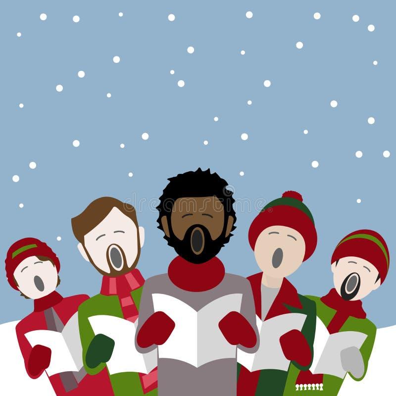 Manliga jullovsångsångare i snön stock illustrationer
