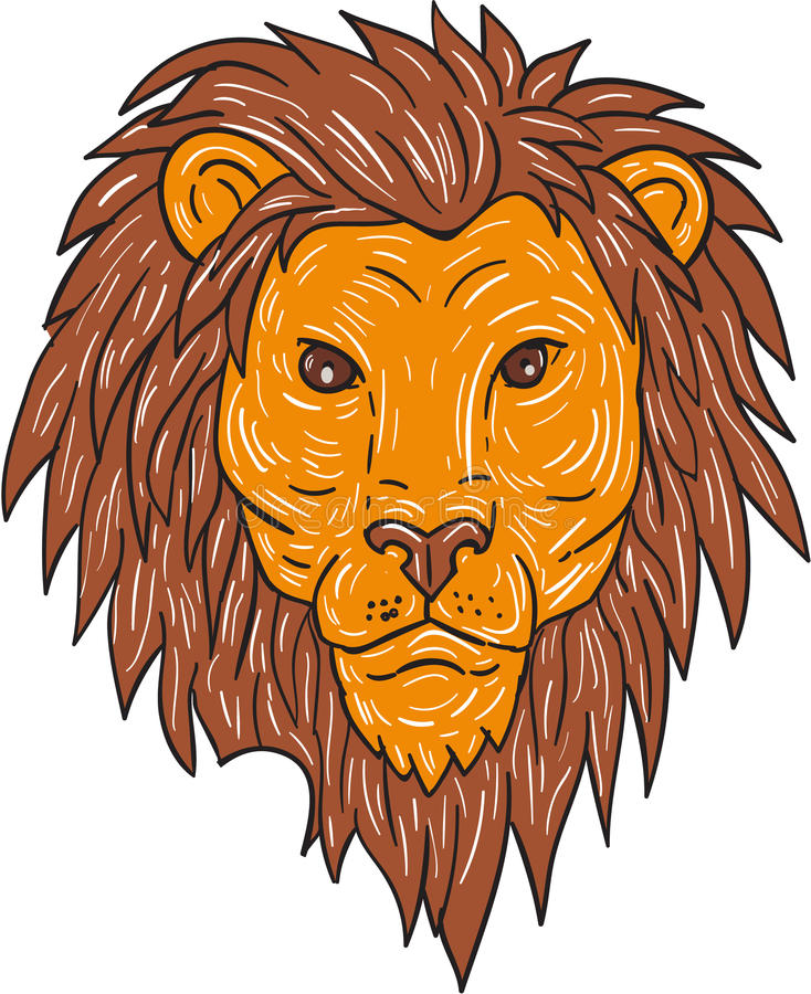 Manliga Lion Big Cat Head Drawing royaltyfri illustrationer