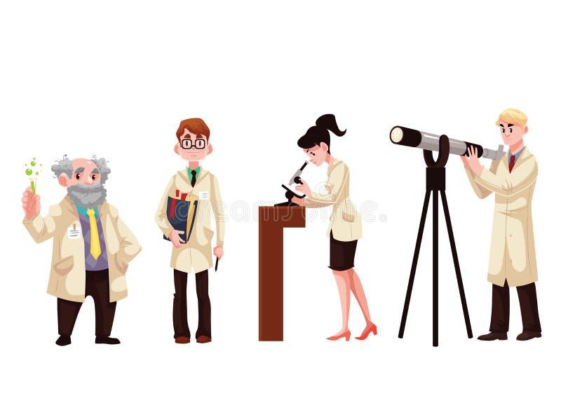 Manliga och kvinnliga forskare - kemist, fysiker, biolog, astronom royaltyfri illustrationer