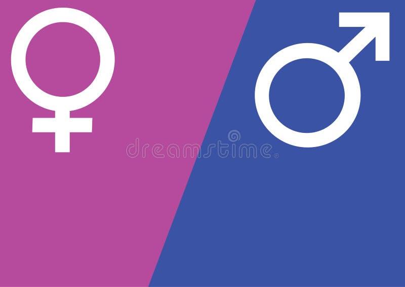Manliga och kvinnliga genussymboler fördärvar, och Venus undertecknar över illustrationen för rosa färg- och blåttbakgrundsvektor vektor illustrationer