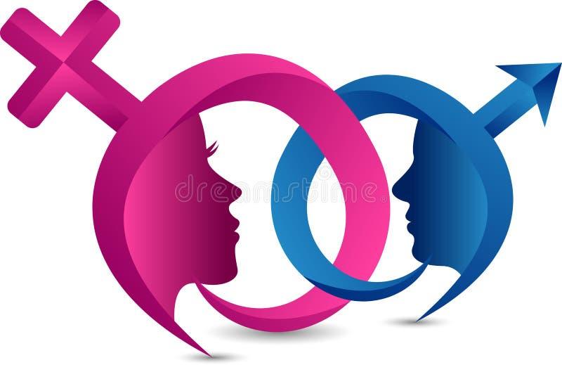 Manliga och kvinnliga genussymboler på färgbakgrund stock illustrationer