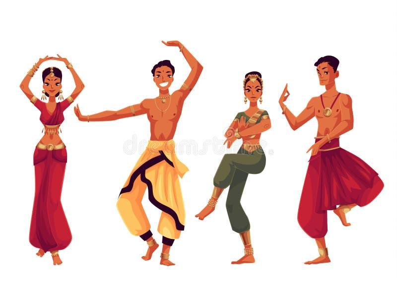 Manliga och kvinnliga indiska dansare i traditionella nationella dräkter royaltyfri illustrationer