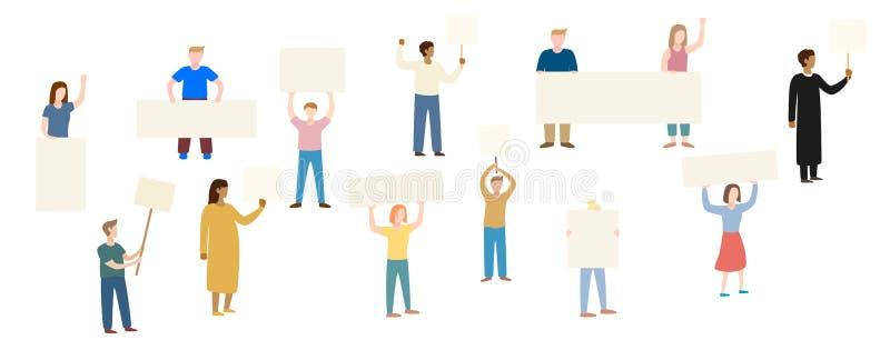 Manliga och kvinnliga personer som protesterar eller aktivister som tillsammans står vektor illustrationer
