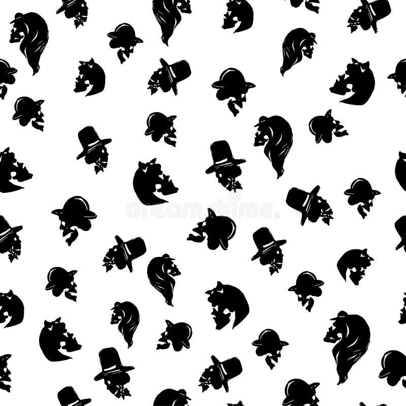 manliga och kvinnliga skallar i hattar av olika typer seamless modell stock illustrationer