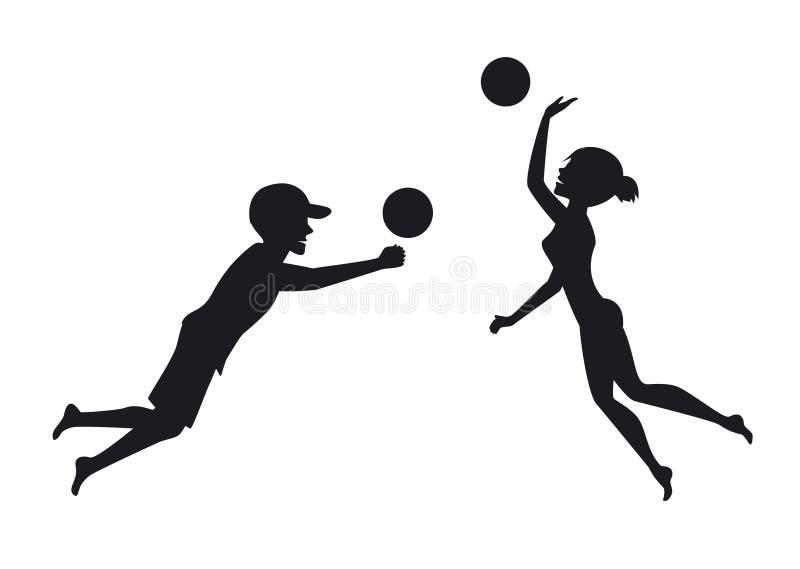 Manliga och kvinnliga strandvolleybollspelare royaltyfri illustrationer