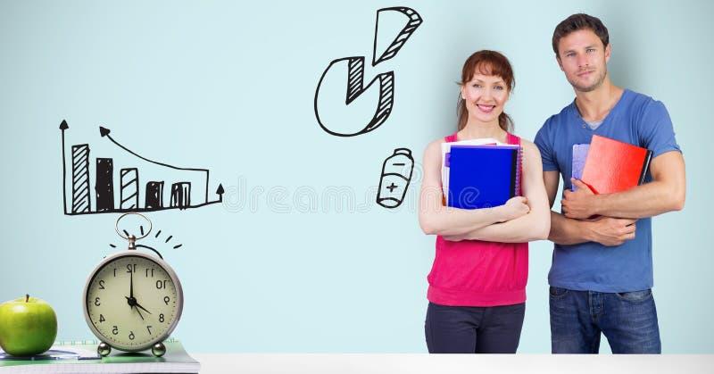 Manliga och kvinnliga studenter med diagram stock illustrationer