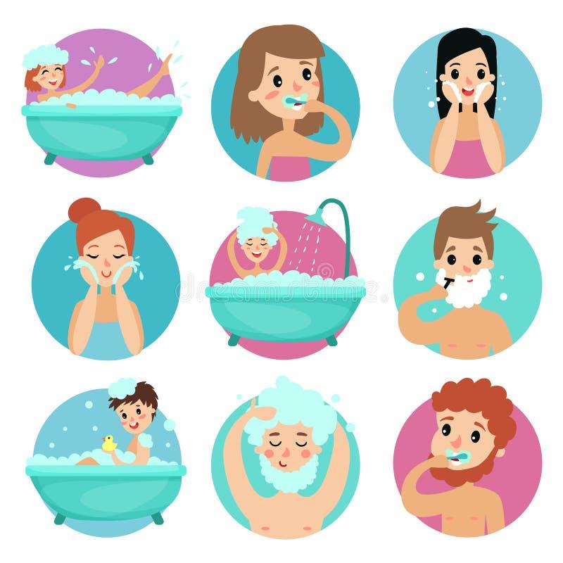 Manliga och kvinnliga tecken som gör badrumtillvägagångssätt, illustration för vektor för personlig hygien för morgon stock illustrationer