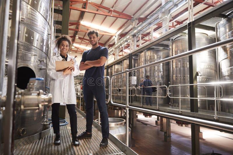 Manliga och kvinnliga vinfabrikstekniker som ler till kameran arkivfoto