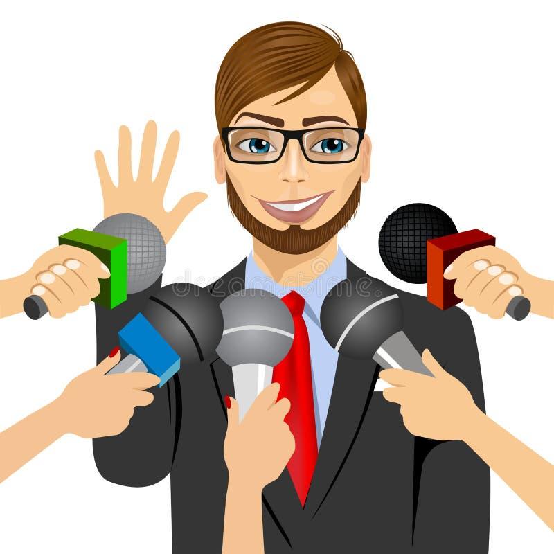 Manliga svarande pressfrågor för politiker eller för affärsman stock illustrationer