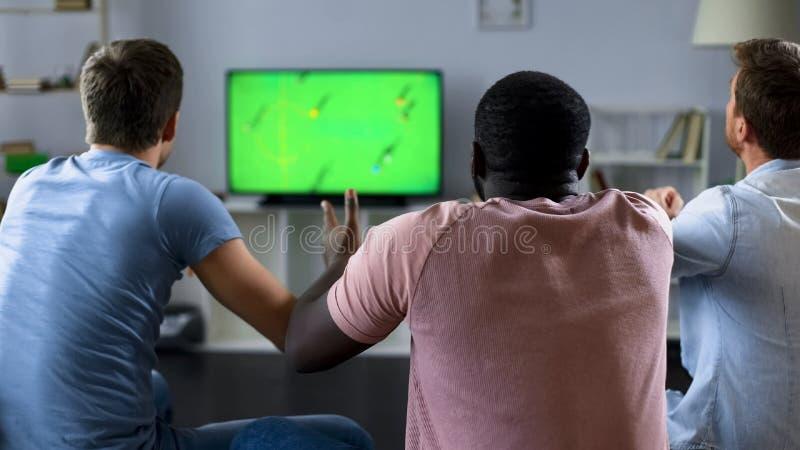 Manliga vänner som håller ögonen på fotbollsmatchen på TV, fans som stöttar landslaget royaltyfri fotografi