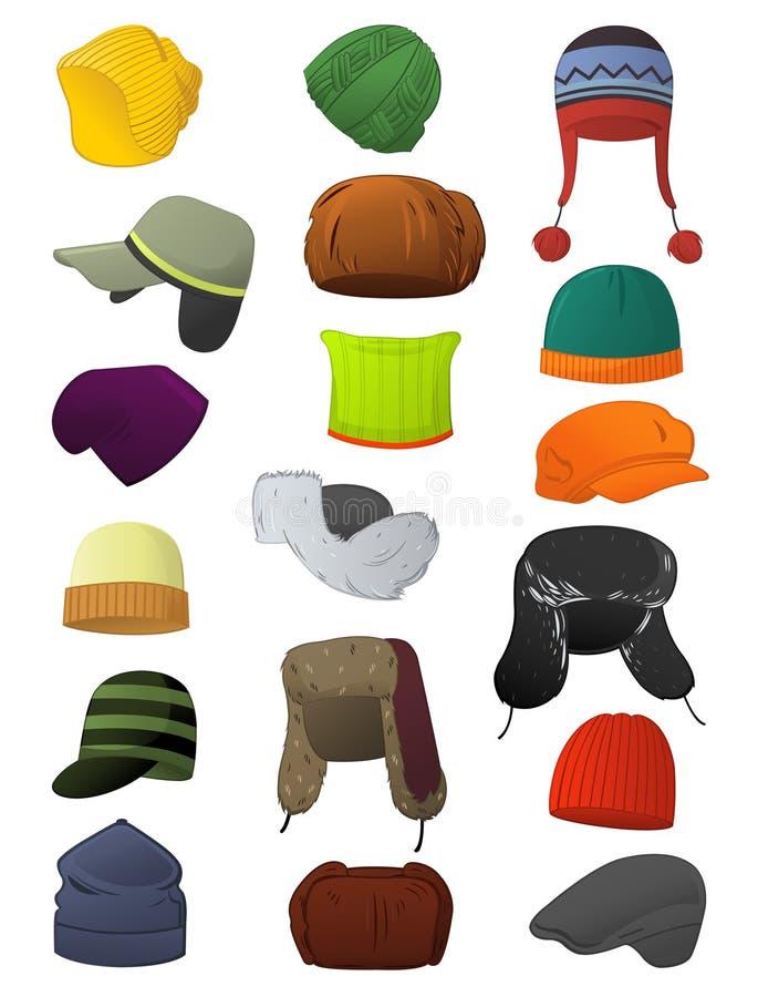 Manliga vinterhattar stock illustrationer