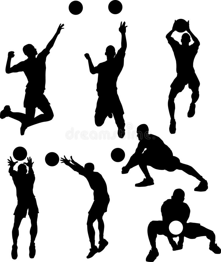 manlign silhouettes volleyboll stock illustrationer