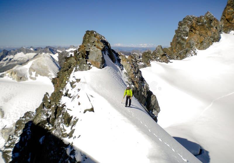 Manligt berghandbokanseende på en glaciär på hans väg till en hög toppmöte i de schweiziska fjällängarna arkivbild
