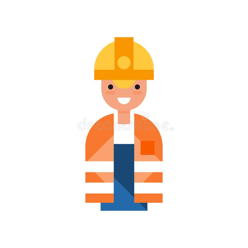 Manligt byggnadsarbetaretecken, man som bär den gula hårda hatten och illustrationen för apelsinvästvektor på en vit vektor illustrationer