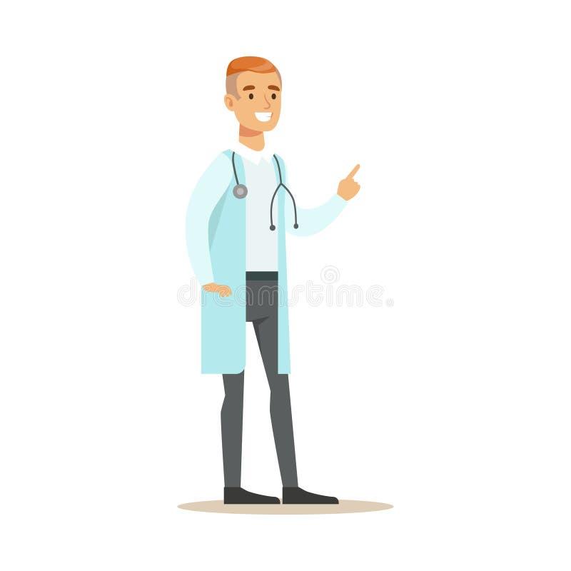 Manligt enhetligt arbete för terapeutdoktor Wearing Medical Scrubs i sjukhusdelen av serie av sjukvårdspecialister vektor illustrationer