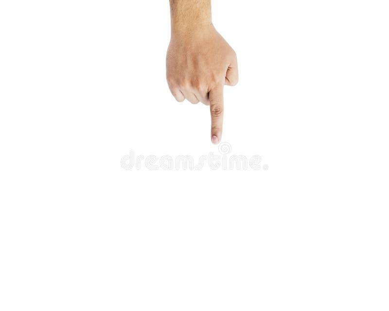 Manligt finger för handtecken som ner pekar isolerat royaltyfri bild