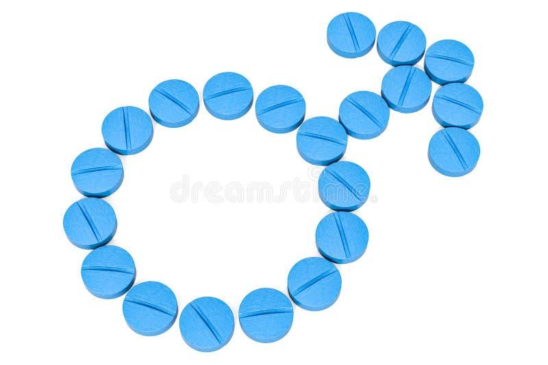 Manligt genussymbol från blåa minnestavlor Begrepp för hälsa för man` s 3D r vektor illustrationer