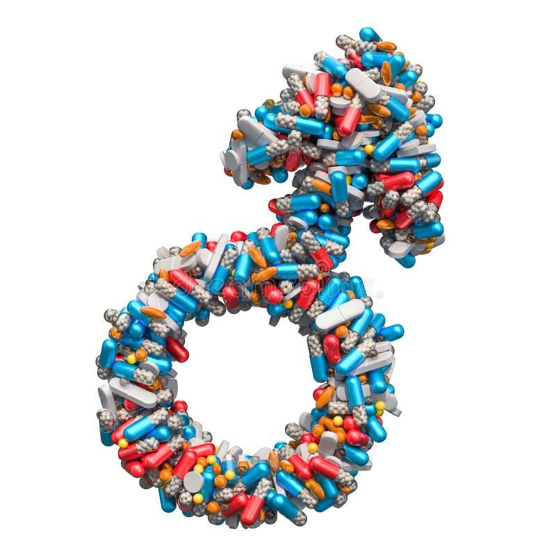 Manligt genussymbol från medicinpiller, kapslar, minnestavlor Begrepp för hälsa för man` s framförande 3d royaltyfri illustrationer