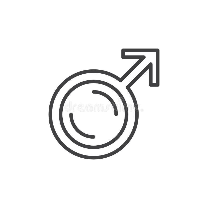 Manligt genussymbol, linje symbol, översiktsvektortecken, linjär stilpictogram som isoleras på vit stock illustrationer