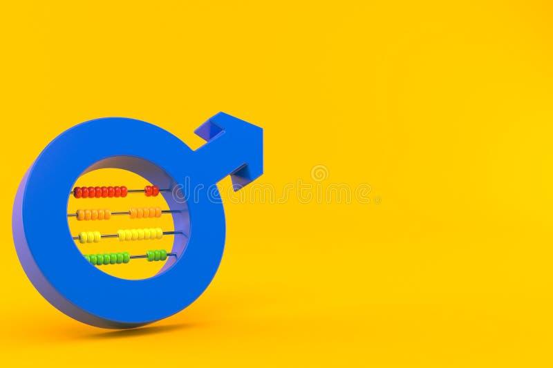 Manligt genussymbol med kulrammet stock illustrationer