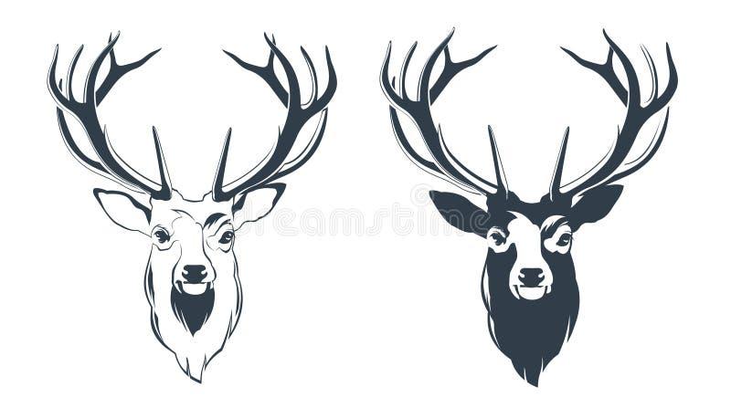 Manligt huvud för röda hjortar stock illustrationer