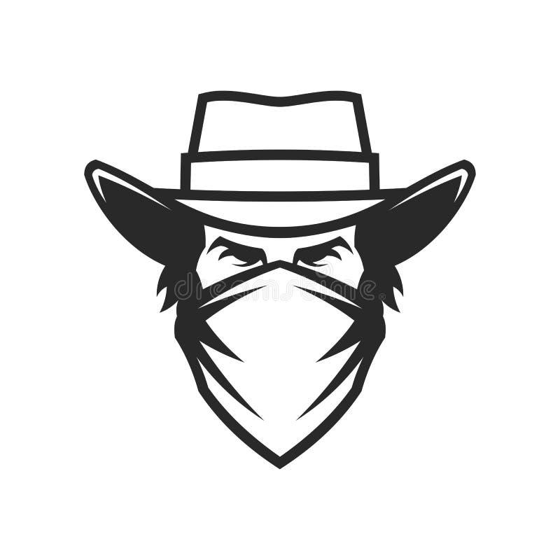 Manligt huvud i cowboyhatt och bandana stock illustrationer