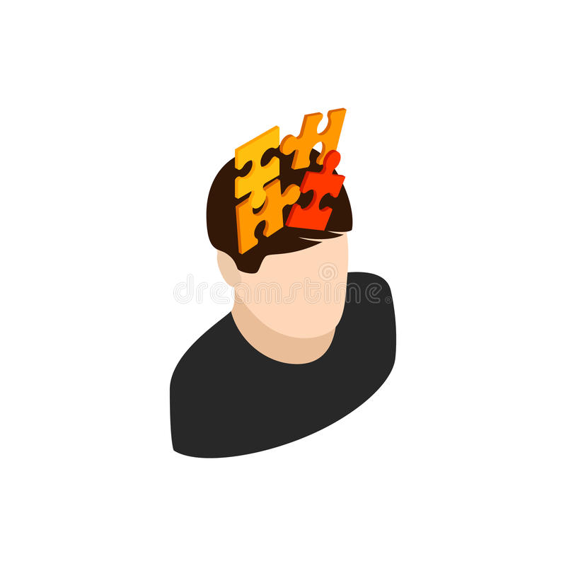 Manligt huvud med pusselsymbolen, isometrisk stil 3d vektor illustrationer