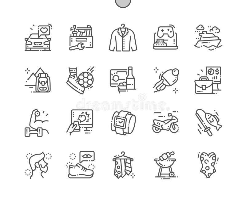 Manligt intresse Brunn-tillverkad linje raster 2x för symboler 30 för perfekt vektor för PIXEL tunn för rengöringsdukdiagram och  stock illustrationer