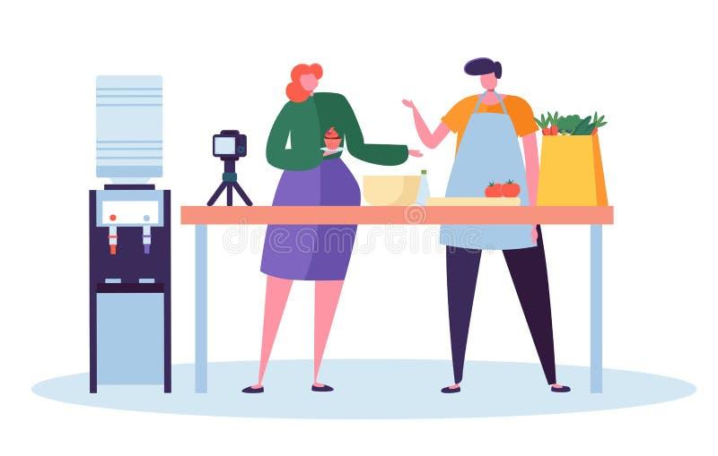 Manligt kvinnligt matBloggertecken som antecknar videoen på kamera i kök Kvinnan gör kakan, och mannen förbereder grönsaken vektor illustrationer