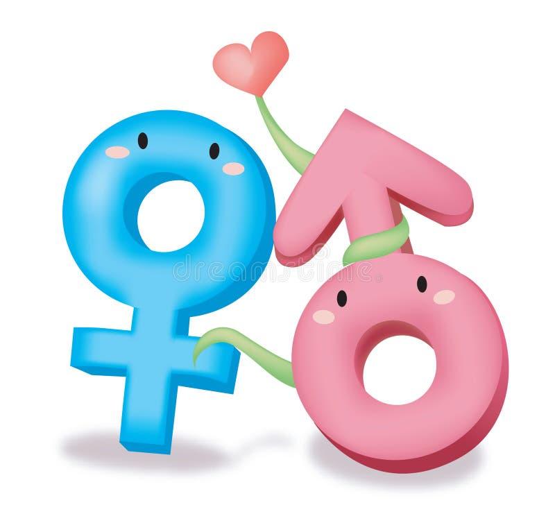 Manligt kvinnligt symbol royaltyfri illustrationer