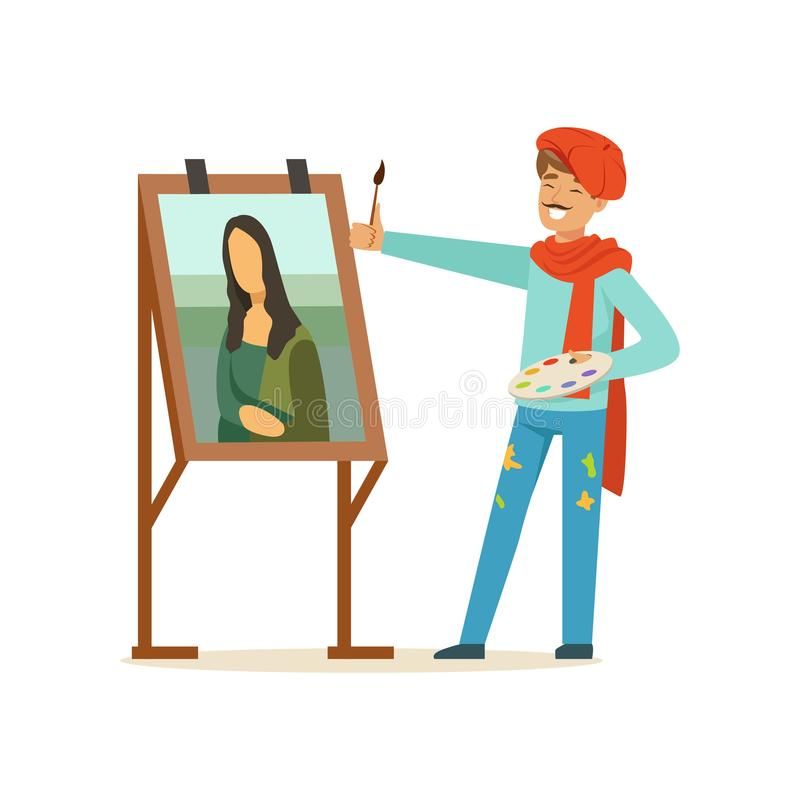 Manligt målarekonstnärtecken med mustaschen som bär den kvinnliga ståenden för röd baskermålning med borstevektorillustrationen stock illustrationer