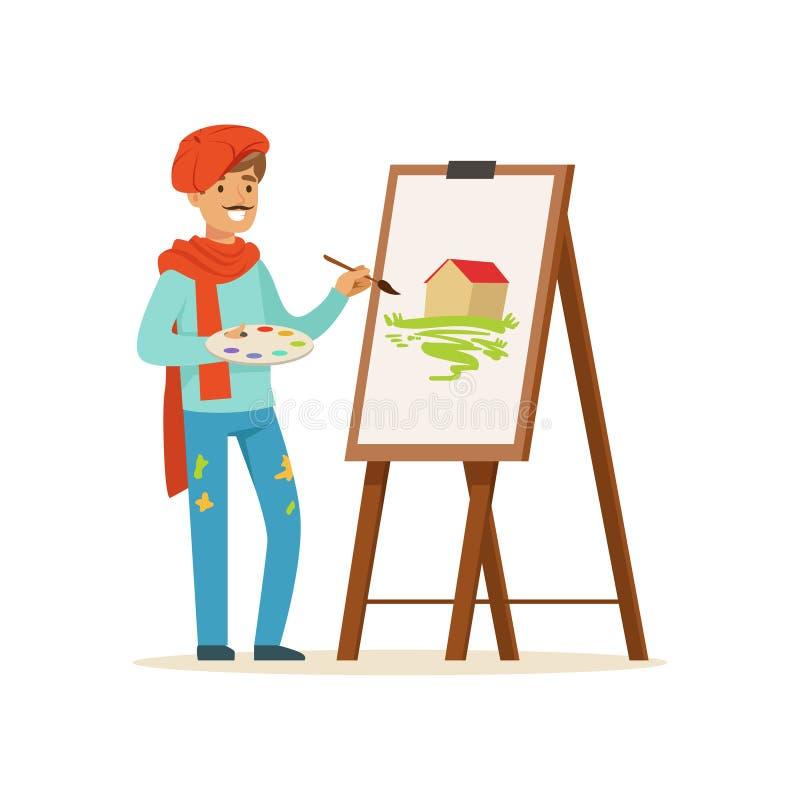 Manligt målarekonstnärtecken med mustaschen som bär den röda baskermålningbilden av landskapet som står den near stafflivektorn vektor illustrationer