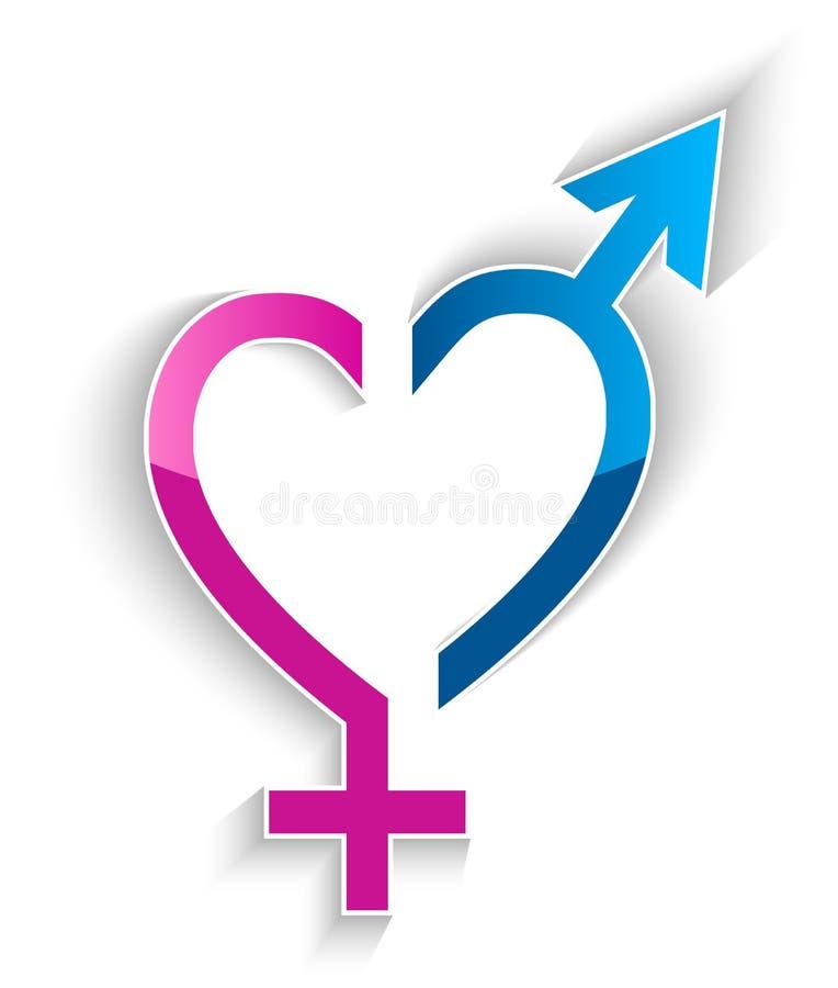 Manligt och kvinnligt begrepp för sexsymbolhjärtaform vektor illustrationer