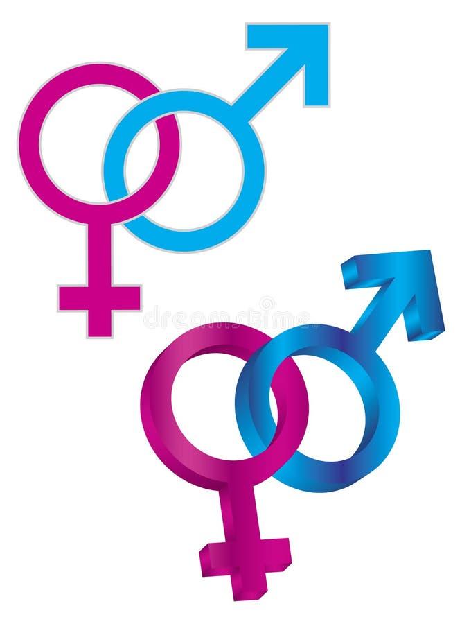 Manligt och kvinnligt flätat samman genussymbol stock illustrationer