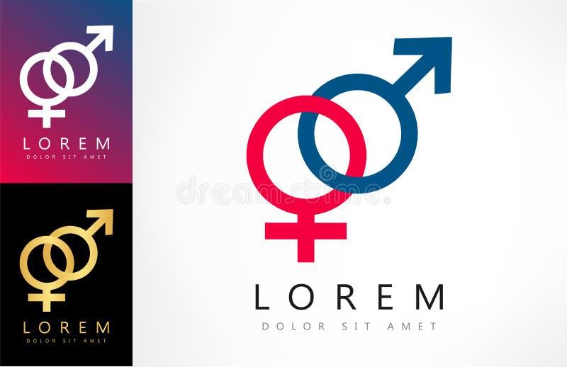 Manligt och kvinnligt könsbestämma logoen vektor illustrationer