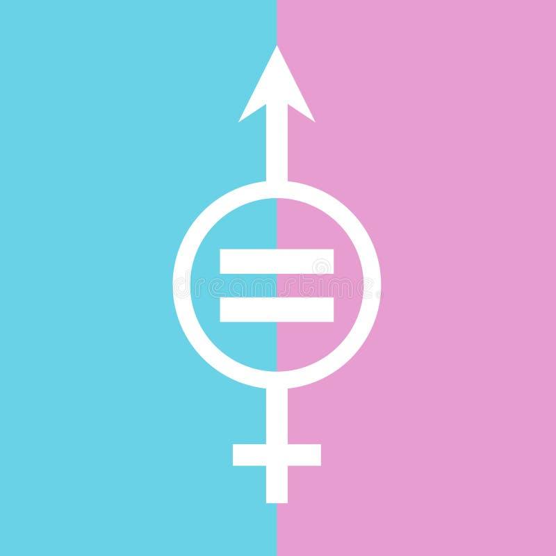 Manligt och kvinnligt symbolbegrepp av illustrationen för jämställdhet 3D royaltyfri illustrationer
