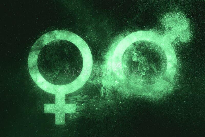 Manligt och kvinnligt tecken, man- och kvinnligsymbol Grönt symbol arkivbild