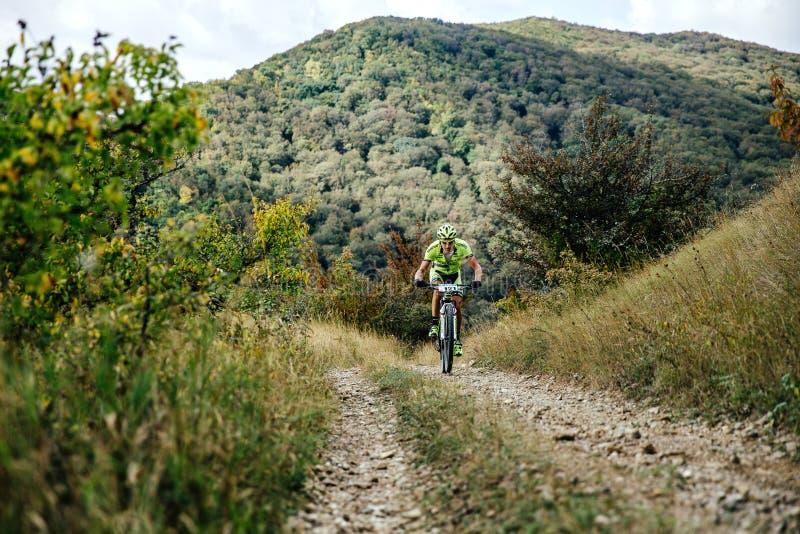 Manligt rida för ryttarecyklist som är stigande på en skogslinga royaltyfri fotografi