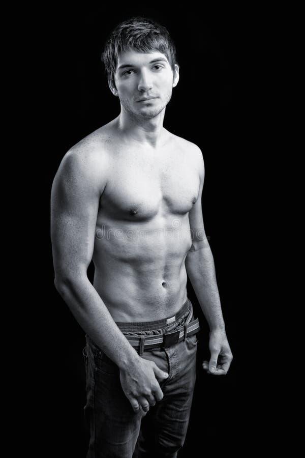 manligt sexigt shirtless för huvuddelgrabb arkivbilder
