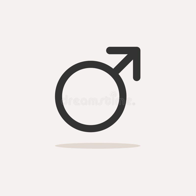 Manligt symbol med skugga på en beige bakgrund Isolerad vetenskapssymbol vektor illustrationer