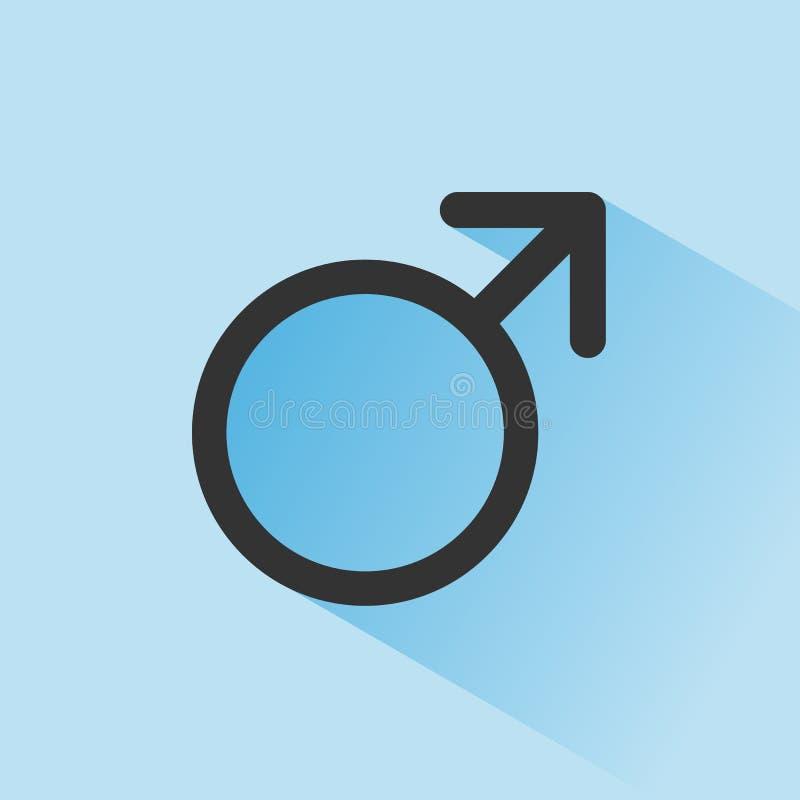 Manligt symbol med skugga på en blå bakgrund Vetenskapssymbol stock illustrationer