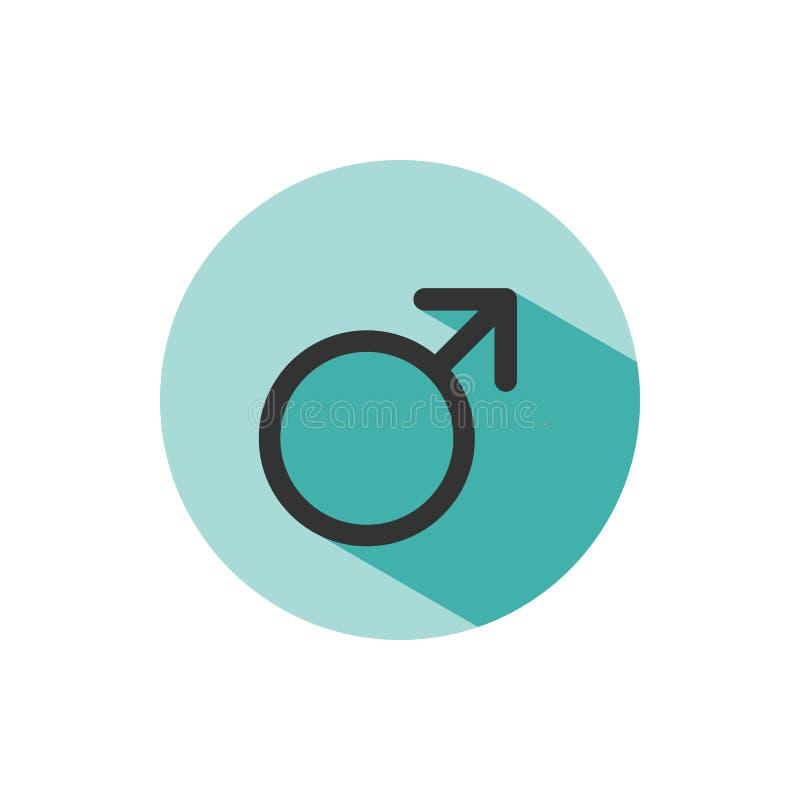 Manligt symbol med skugga på en grön cirkel Vetenskapssymbol vektor illustrationer
