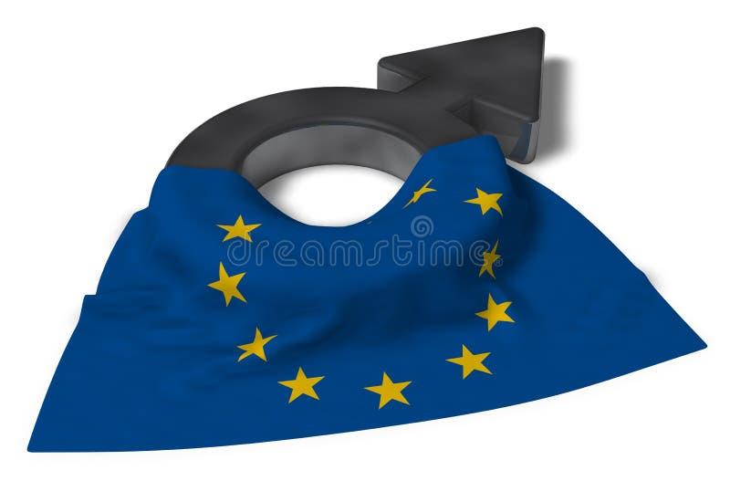 Manligt symbol och flagga av euen royaltyfri illustrationer