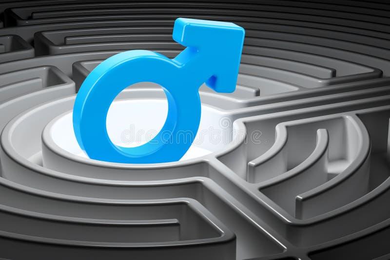 Manligt symbol på mitten av en labyrint, tolkning 3D vektor illustrationer