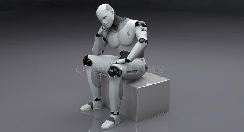 Manligt tänka för robotsammanträde stock illustrationer